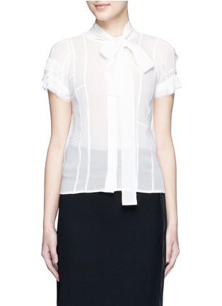 Main View - Click To Enlarge - Haider Ackermann - Layered ruffle sleeve silk chiffon top