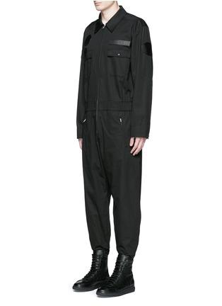 Front View - Click To Enlarge - Alexander Wang  - Leather patch appliqué jumpsuit