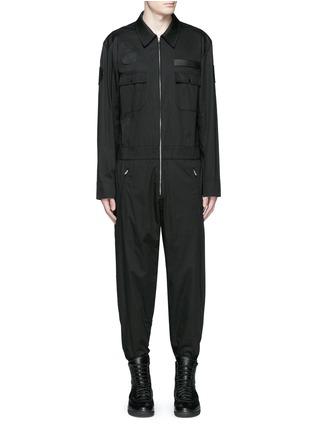 Main View - Click To Enlarge - Alexander Wang  - Leather patch appliqué jumpsuit