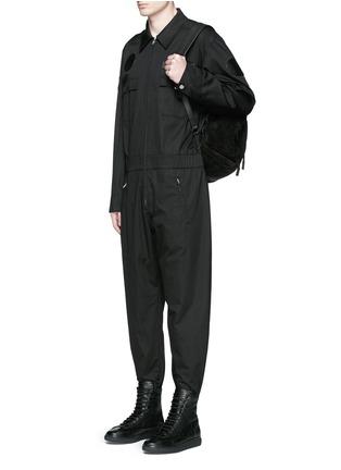 Figure View - Click To Enlarge - Alexander Wang  - Leather patch appliqué jumpsuit