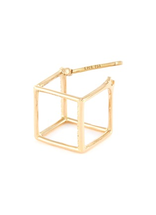 Detail View - Click To Enlarge - SHIHARA - 'Square' diamond 18k yellow gold cube single earring – 10mm