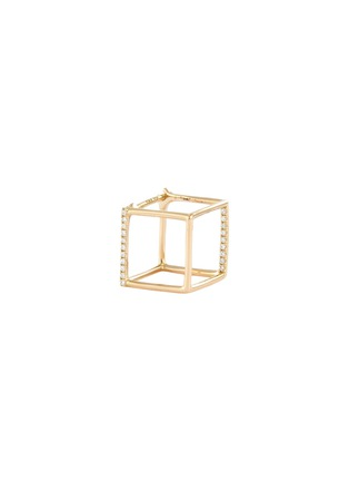 Main View - Click To Enlarge - SHIHARA - 'Square' diamond 18k yellow gold cube single earring – 10mm
