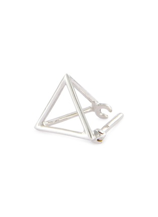 Detail View - Click To Enlarge - SHIHARA - 'Triangle' 18k white gold pyramid single earring – 10mm