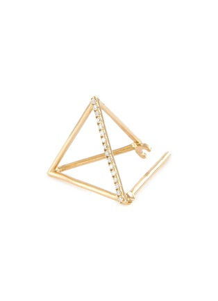 Detail View - Click To Enlarge - SHIHARA - 'Triangle' diamond 18k yellow gold pyramid single earring – 15mm