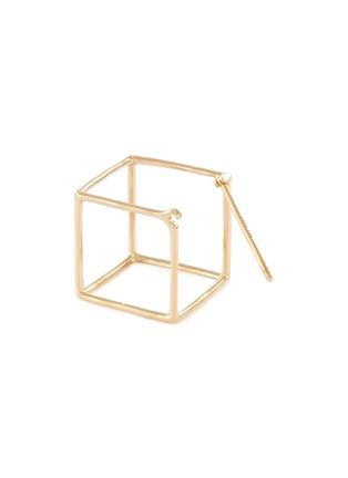 Detail View - Click To Enlarge - SHIHARA - 'Square' diamond 18k yellow gold cube single earring – 15mm