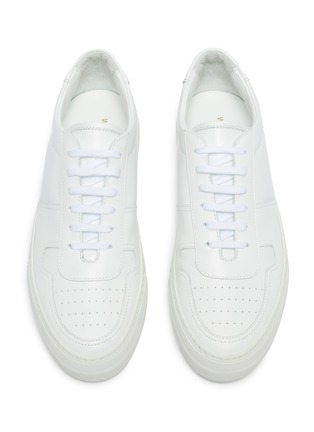 Detail View - Click To Enlarge - COMMON PROJECTS - 'B Ball' platform leather sneakers