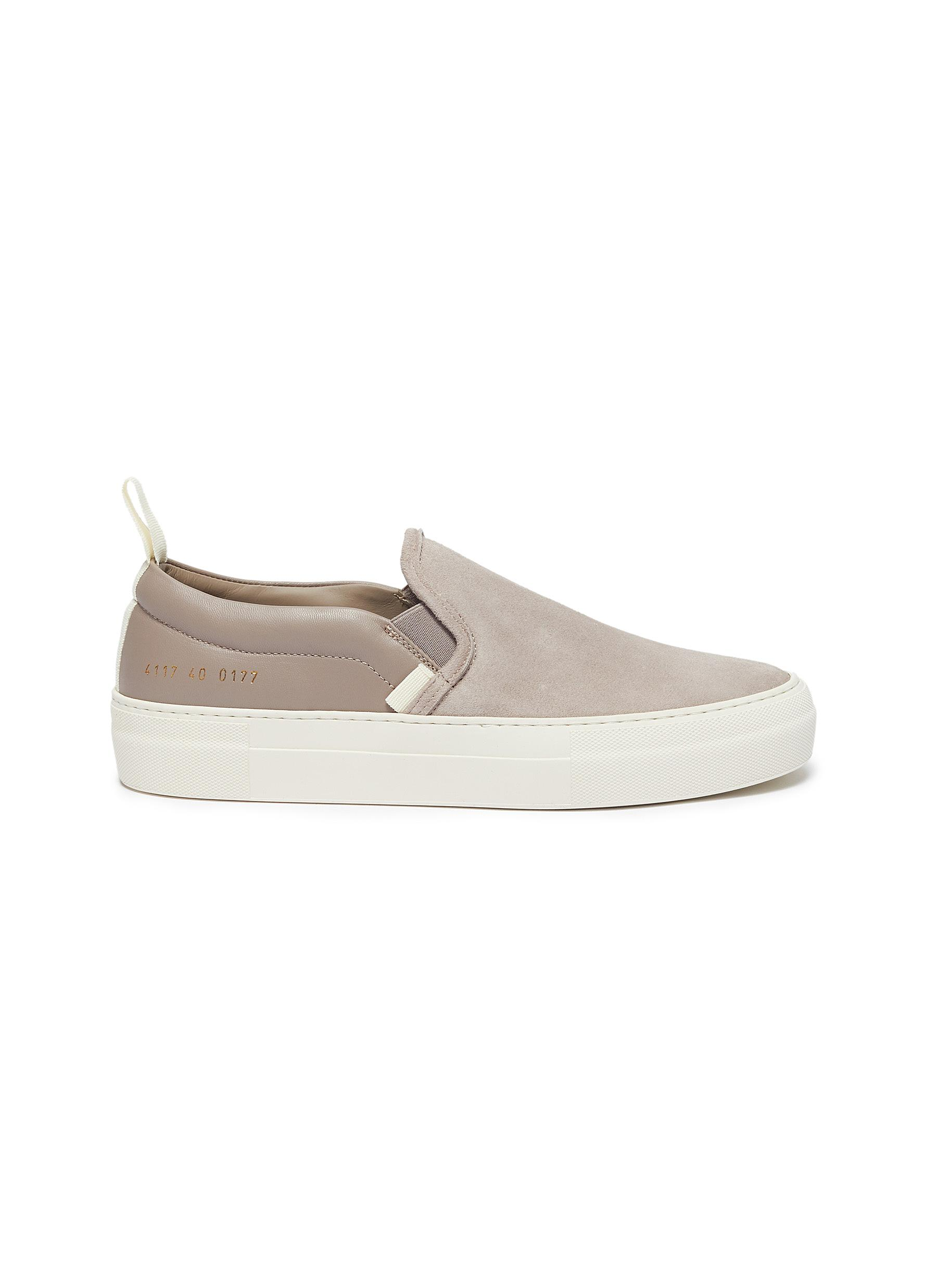 Suede panelled leather skate slip-ons by Common Projects