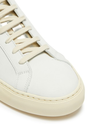Detail View - Click To Enlarge - COMMON PROJECTS - 'Retro Low' leather metallic sneakers