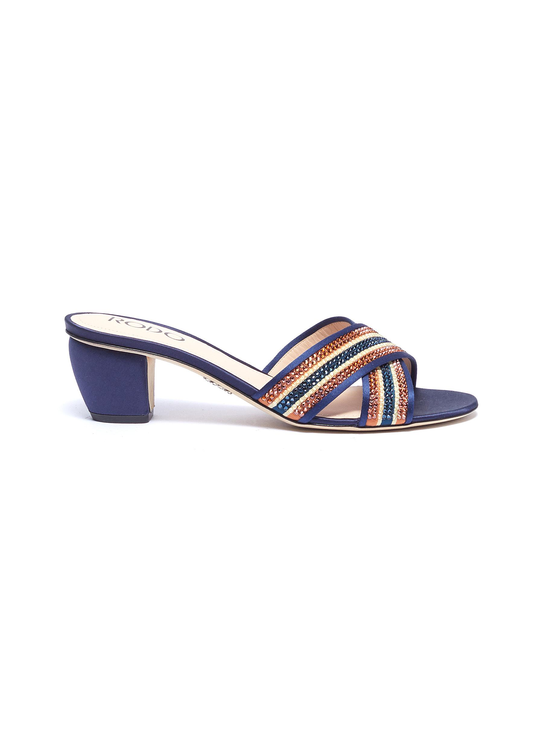 Strass stripe cross strap satin sandals by Rodo