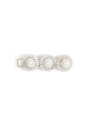 Main View - Click To Enlarge - VENNA - Glass crystal faux pearl floral hair clip