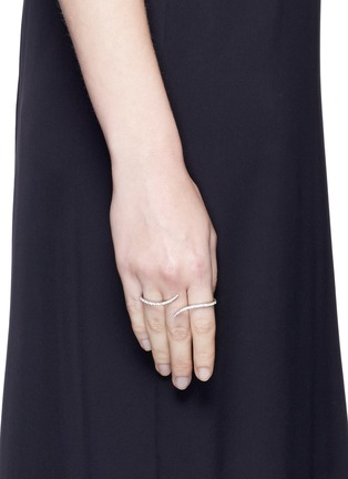 Figure View - Click To Enlarge - MESSIKA - 'Daisy' diamond 18k white gold three finger ring
