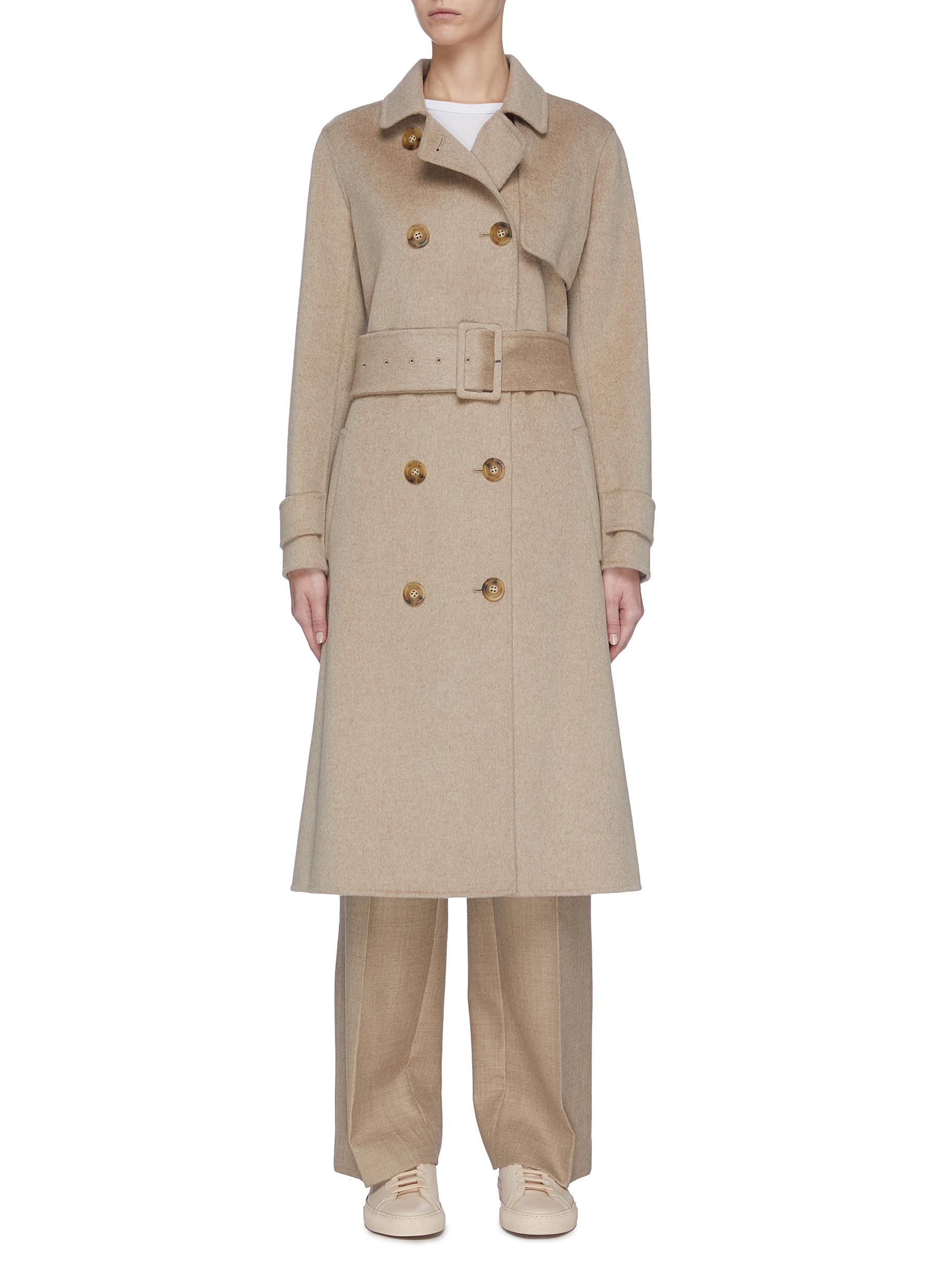 shop Equil Double breasted belted cashmere coat online
