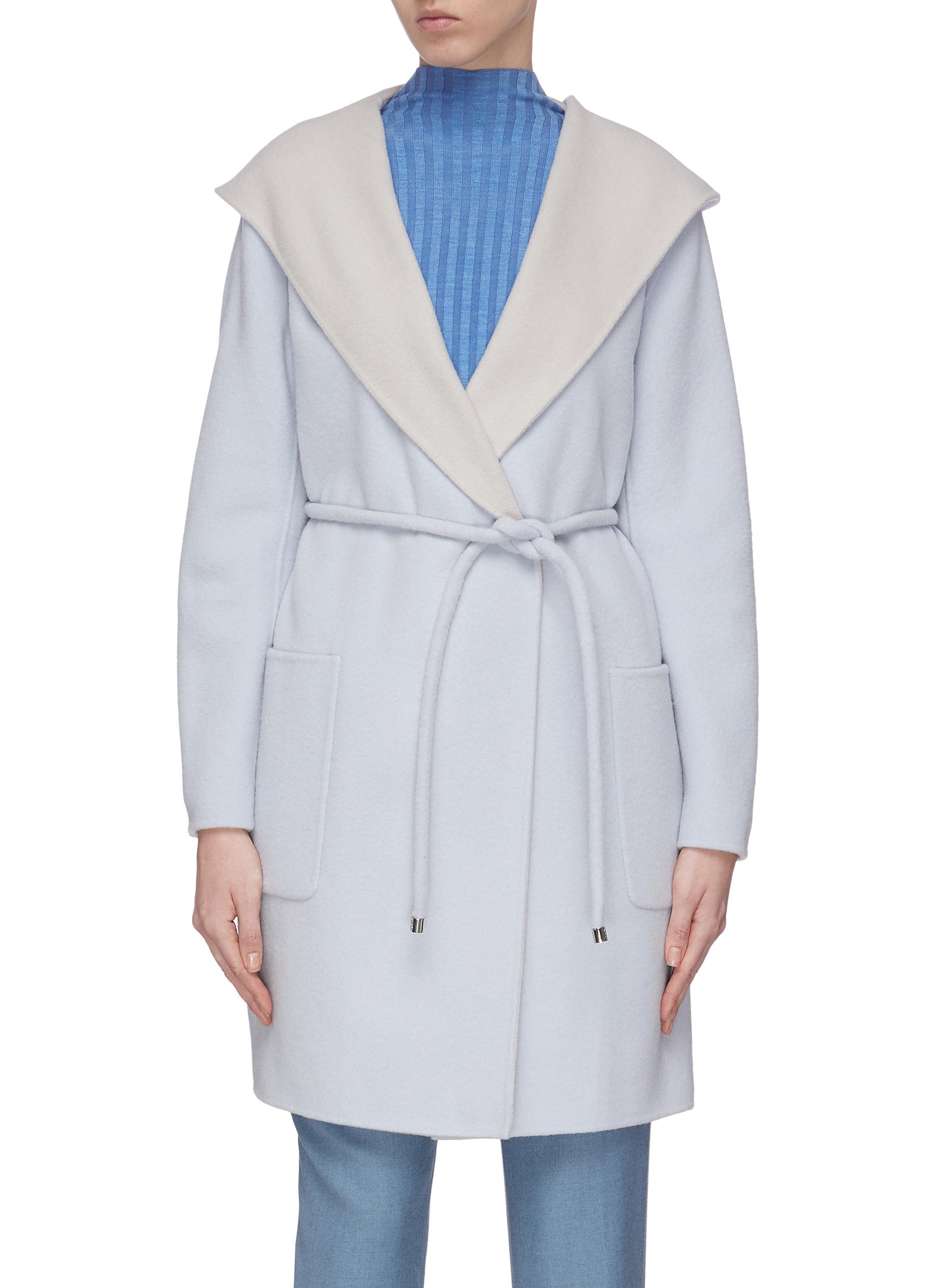 shop Equil Double face hooded belted cashmere coat online