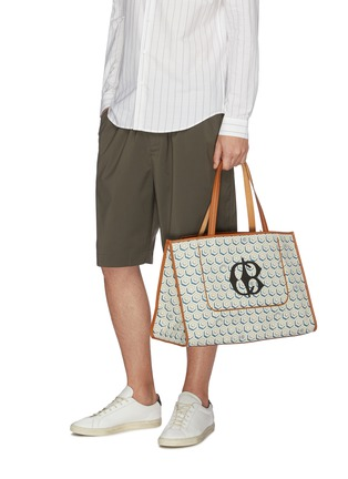 Figure View - Click To Enlarge - CONNOLLY - Logo geometric graphic print canvas beach bag