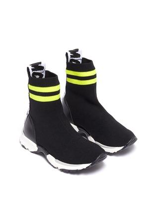 Figure View - Click To Enlarge - STELLA MCCARTNEY KIDS - Stripe cuff sock knit high top kids sneakers