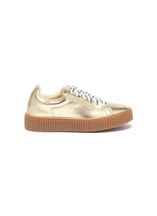 Main View - Click To Enlarge - STELLA MCCARTNEY KIDS - Logo lace faux leather platform kids sneakers