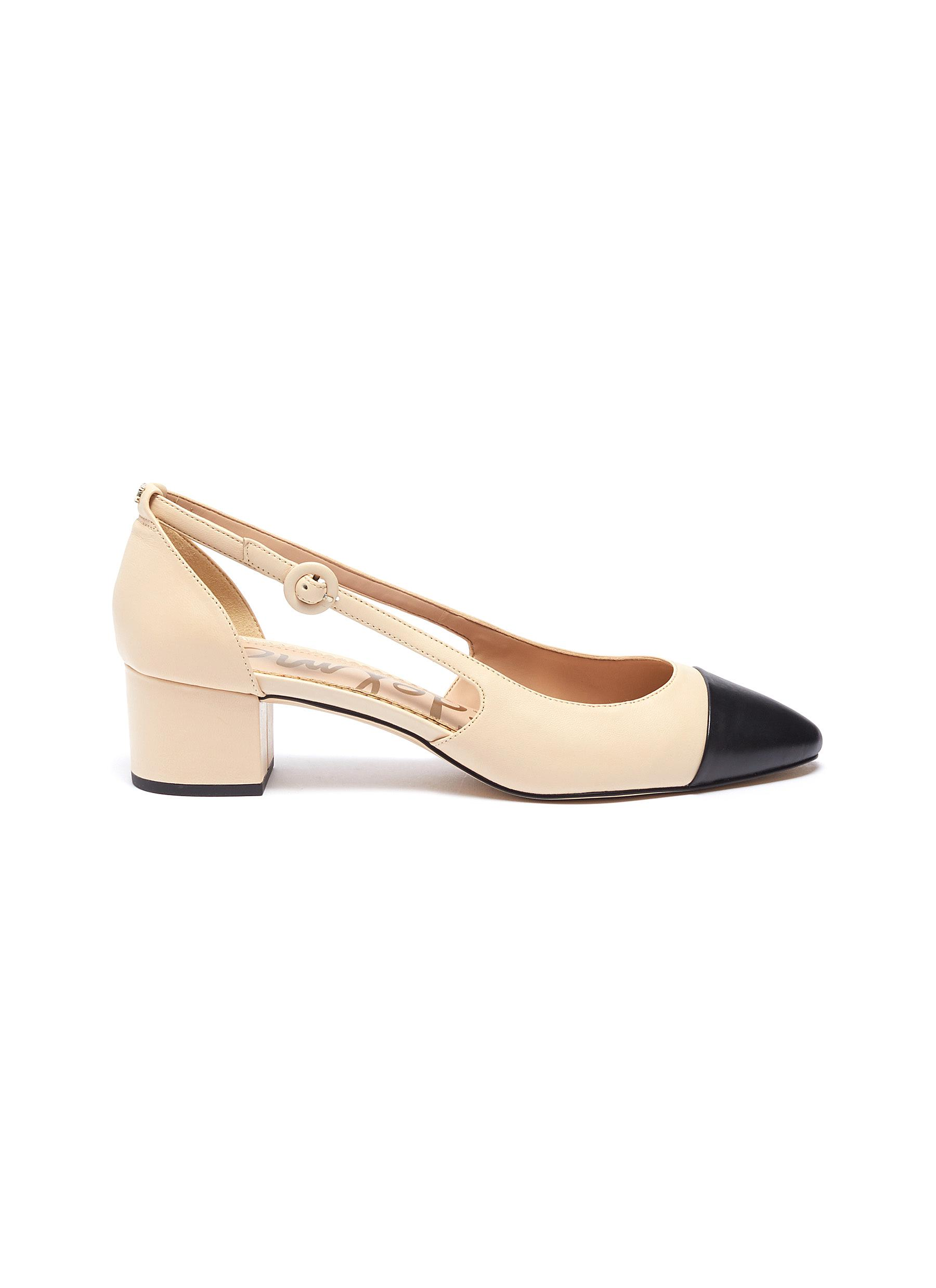 Leah contrast toe cap cutout leather pumps by Sam Edelman
