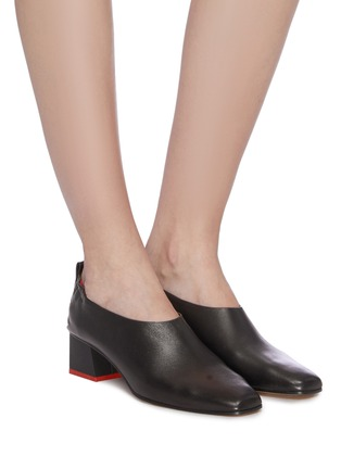 Figure View - Click To Enlarge - GRAY MATTERS - 'Micol Junior' choked-up leather pumps