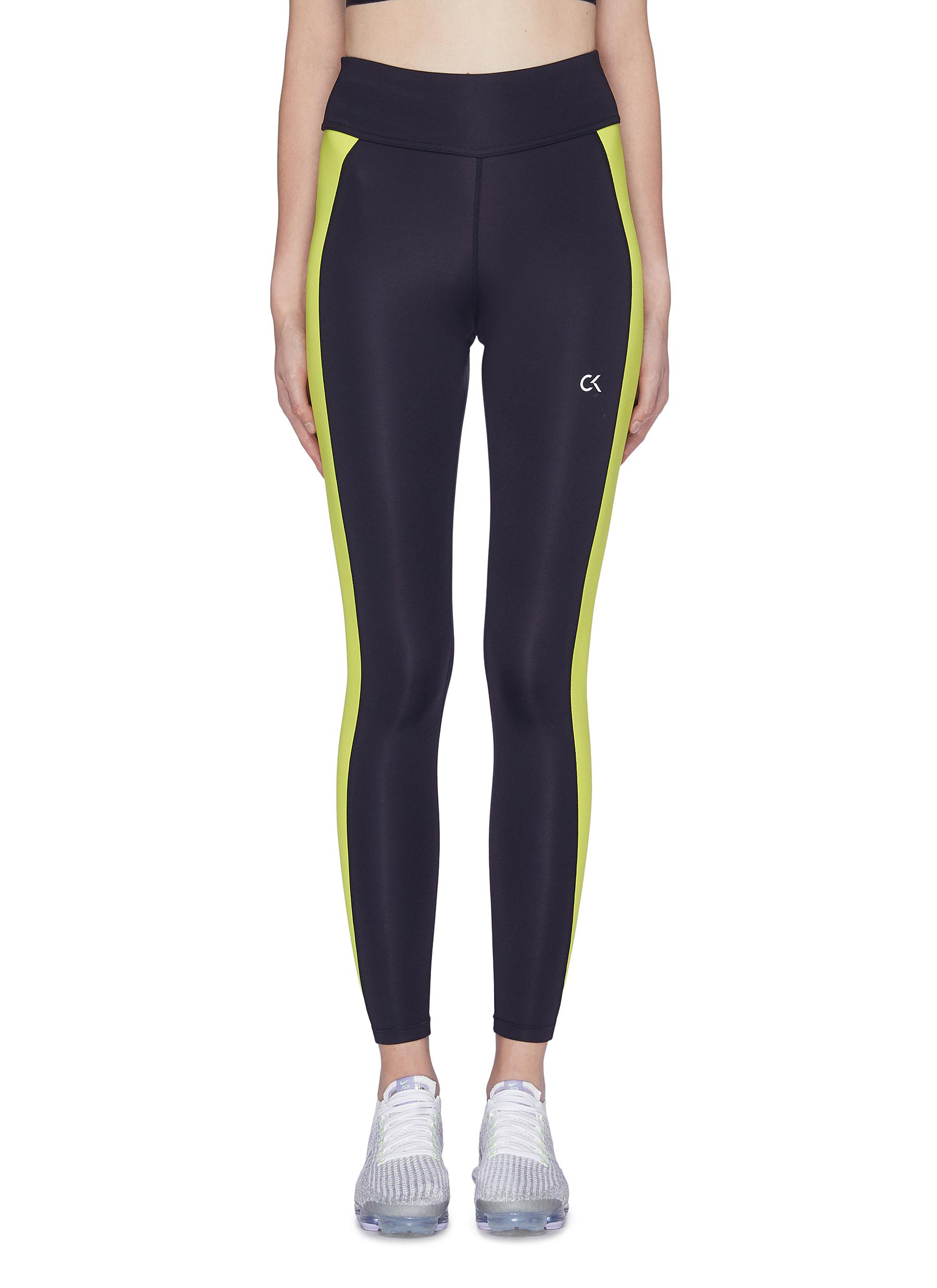 Space Line stripe outseam performance leggings by Calvin Klein Performance