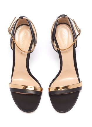 Detail View - Click To Enlarge - GIANVITO ROSSI - Mirror metallic trim ankle strap leather sandals