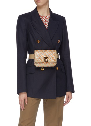 Figure View - Click To Enlarge - BURBERRY - 'TB' monogram print leather bum bag