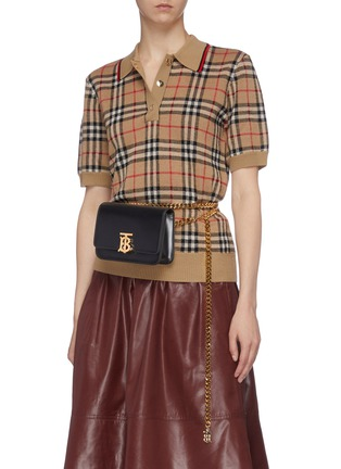 Figure View - Click To Enlarge - BURBERRY - 'TB' monogram clasp leather belt bag