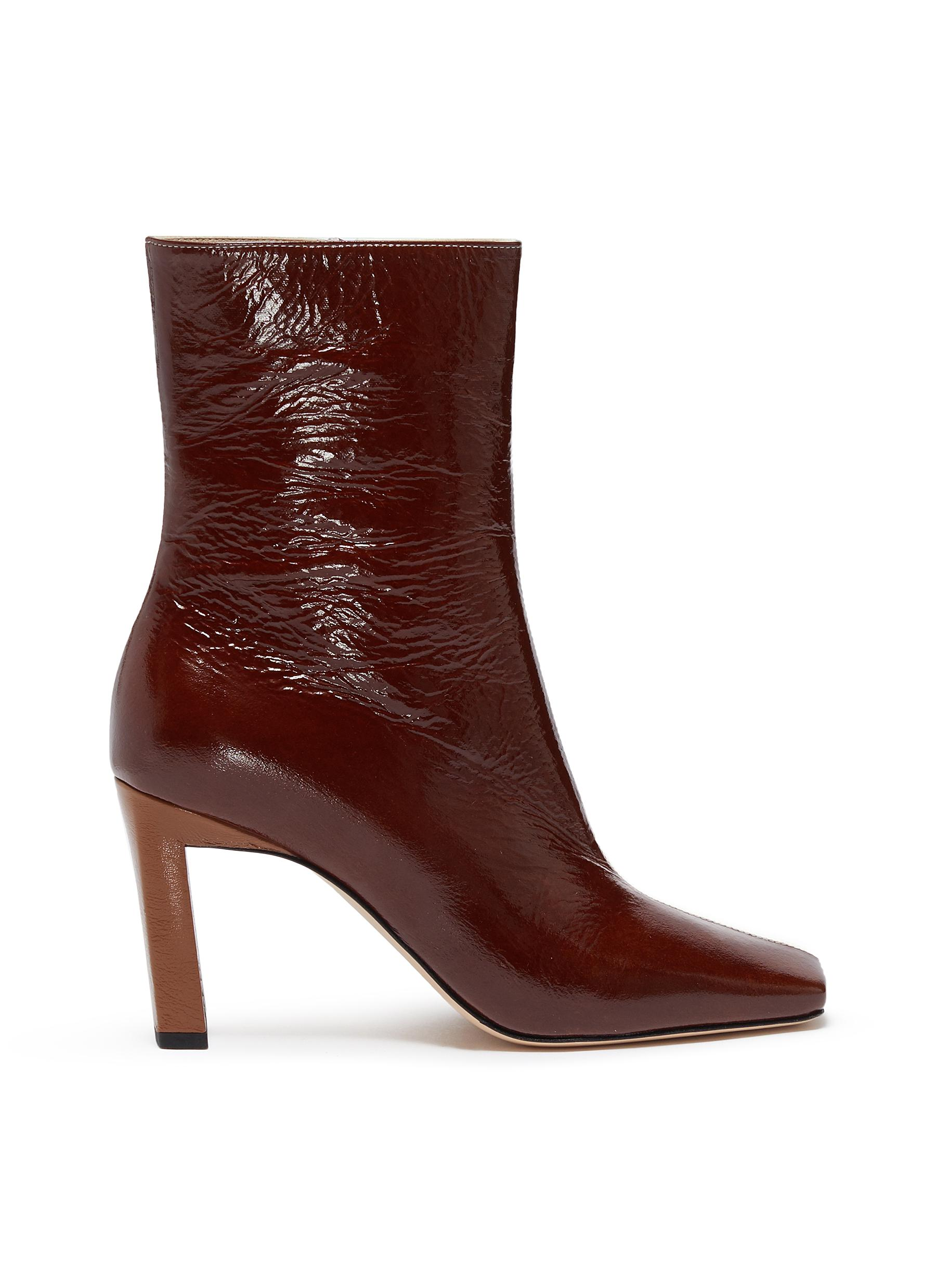 Wandler Boots 'Isa' square toe contrast panel patent leather boots