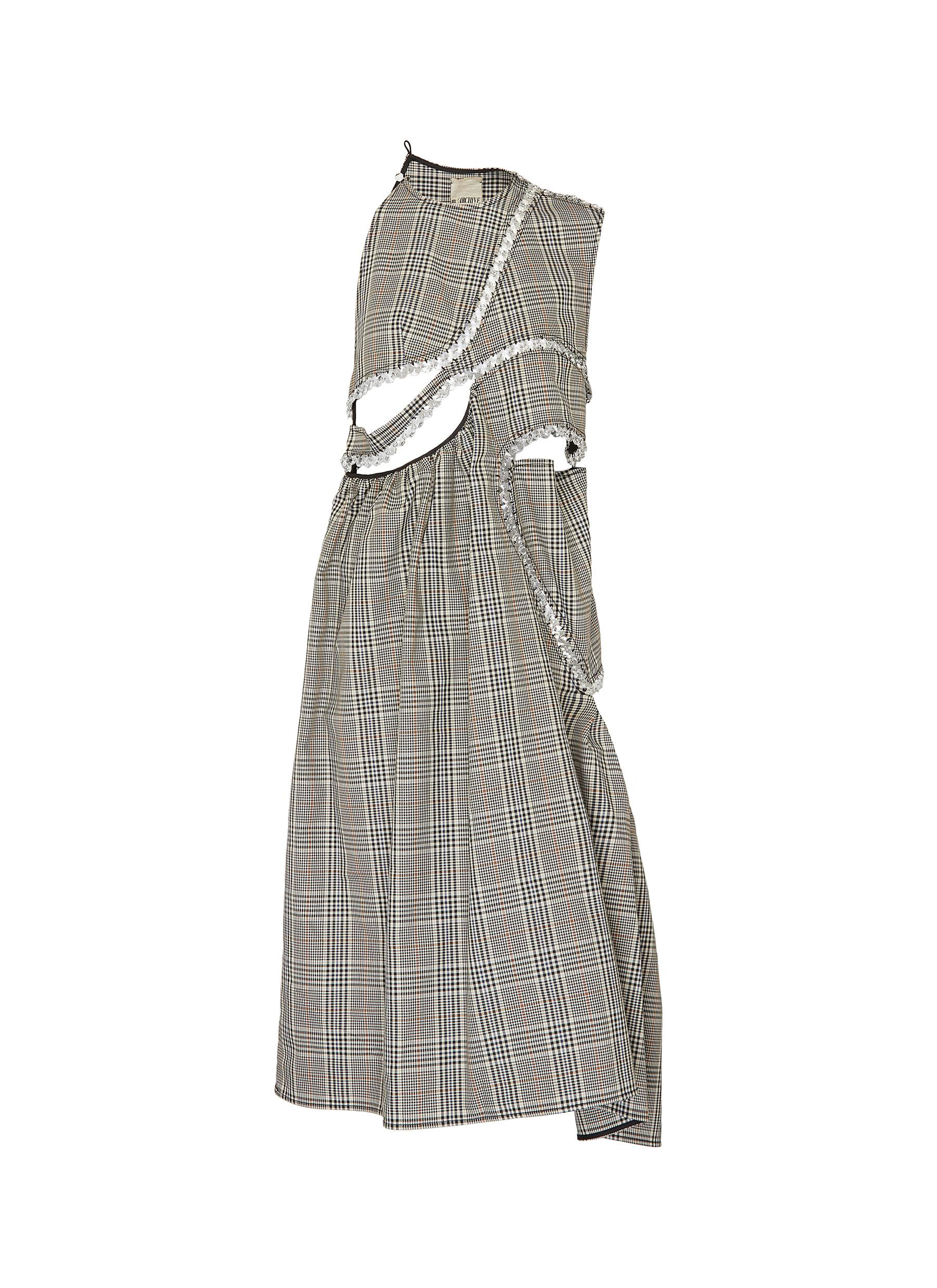 Check plaid embellished cut out maxi dress by Märchen