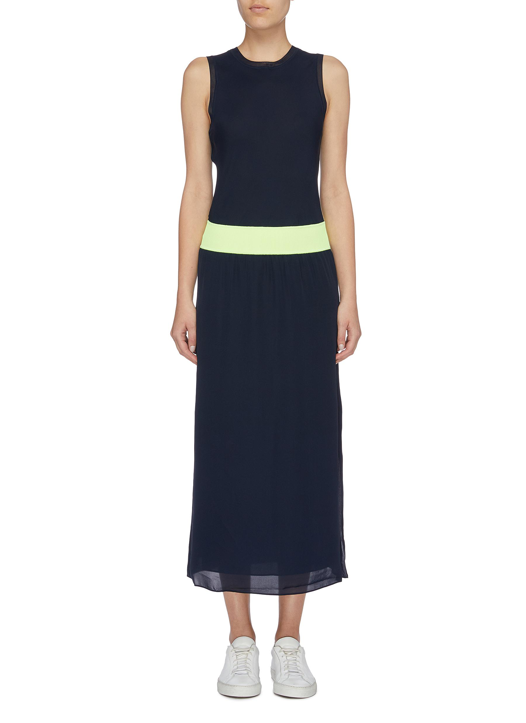 Lewie colourblock waist sleeveless silk dress by Theory