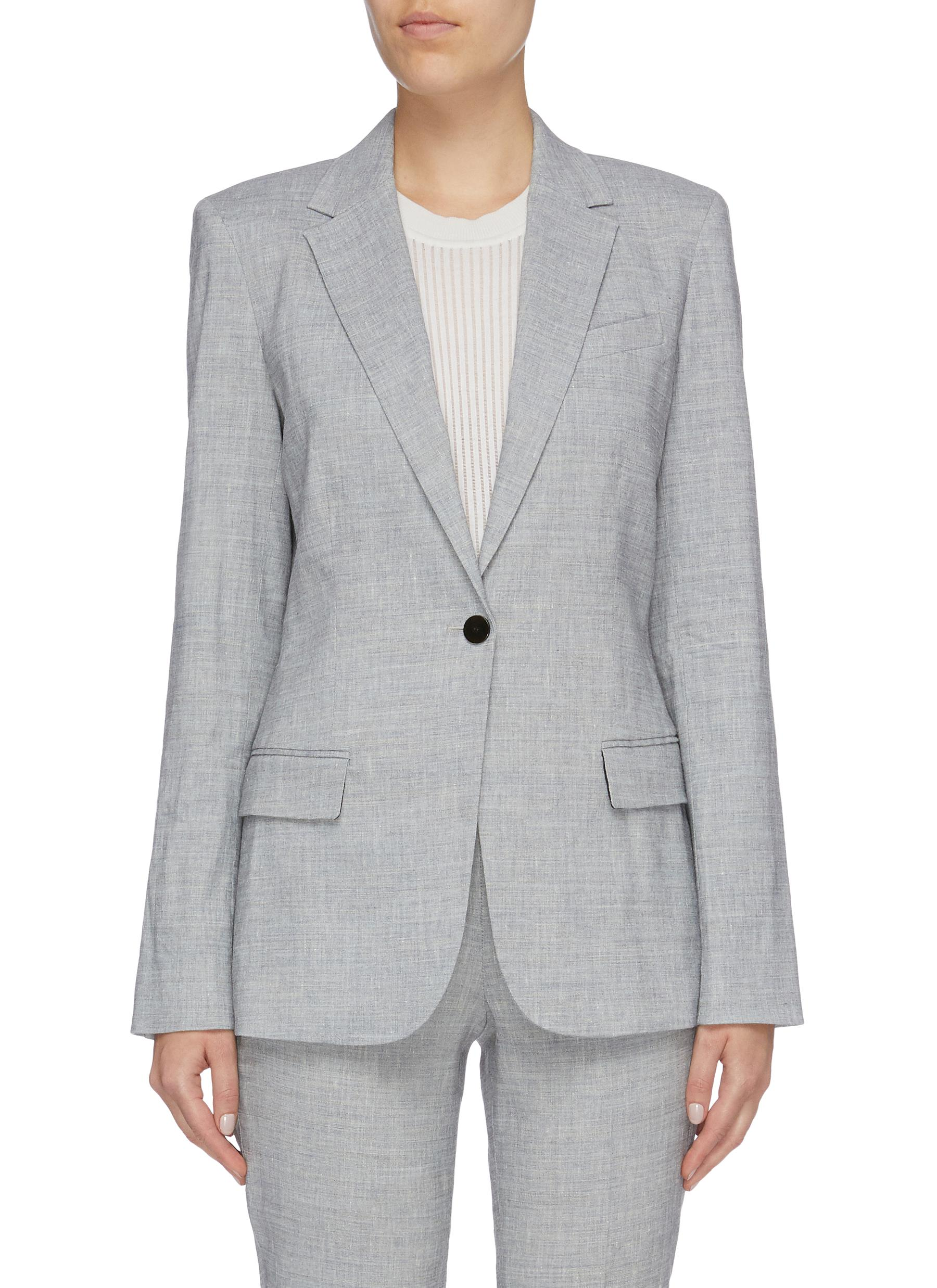 Staple notched lapel linen blend blazer by Theory