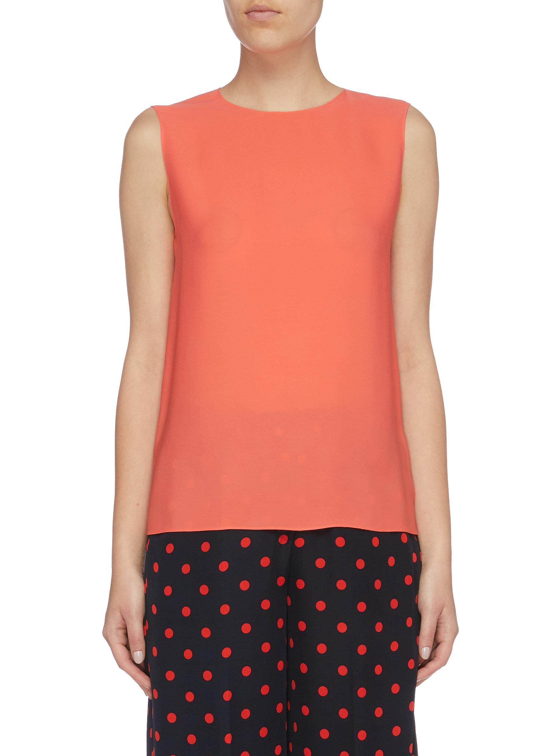 Continuous Shell sleeveless silk georgette top by Theory