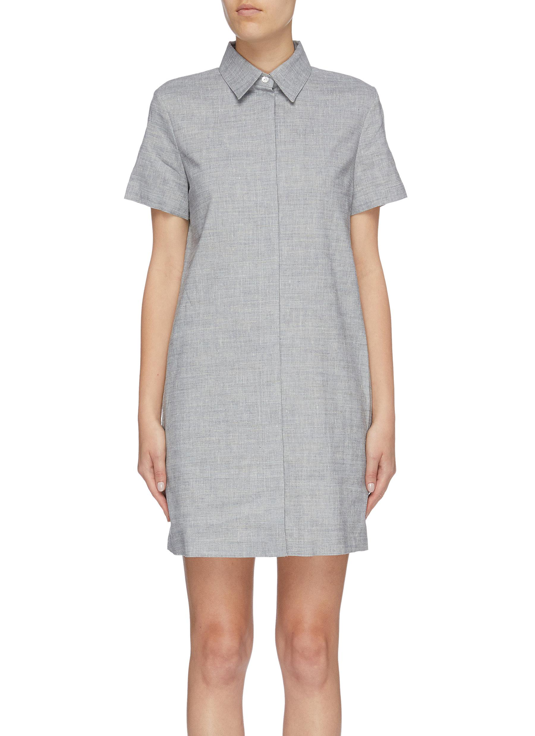 Linen blend shirt dress by Theory