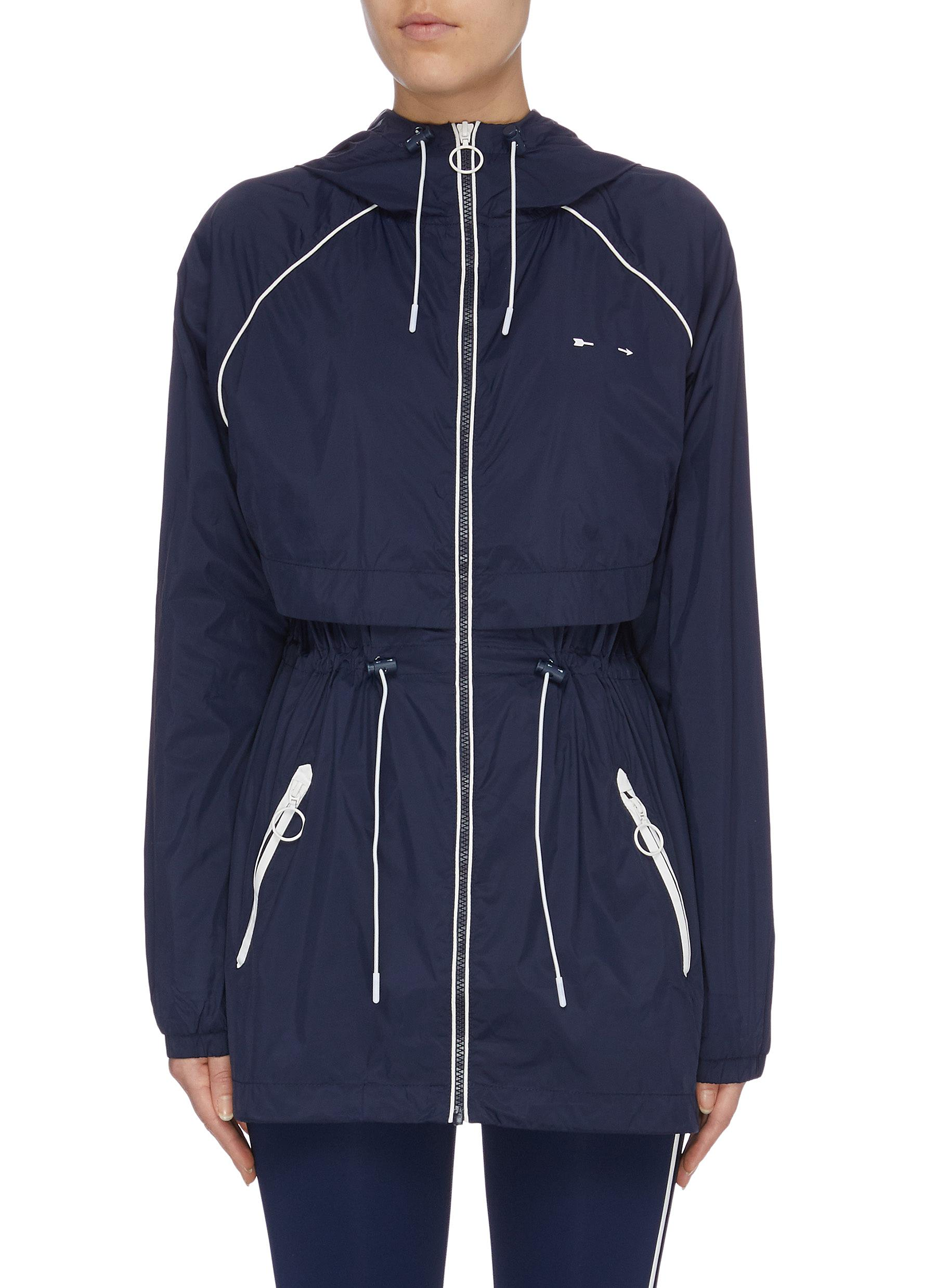 Ella drawcord contrast piping water-resistant parka by The Upside