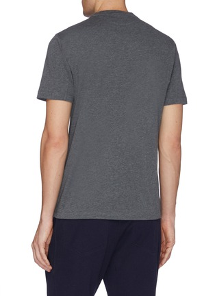 Back View - Click To Enlarge - BRUNELLO CUCINELLI - Logo embroidered layered patch pocket T-shirt