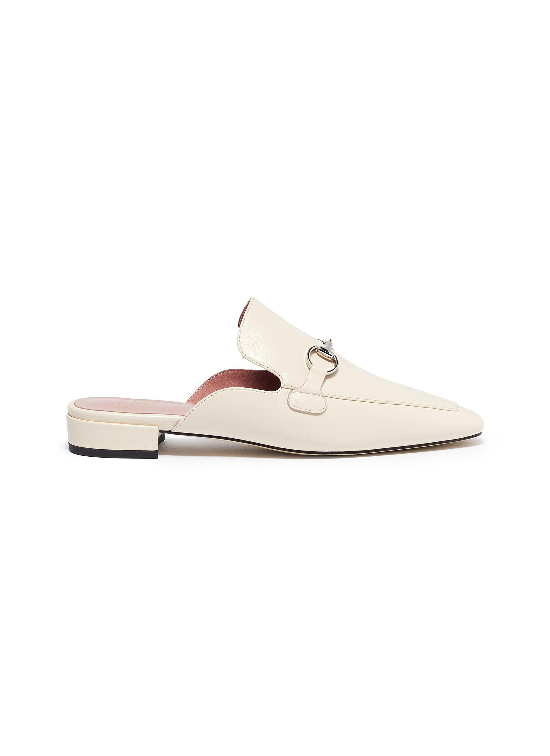Zac horsebit leather loafer slides by Pedder Red
