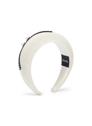 Figure View - Click To Enlarge - VENNA - Floral embellished velvet headband