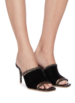 Figure View - Click To Enlarge - MALONE SOULIERS - 'Laney' embellished strappy suede sandals
