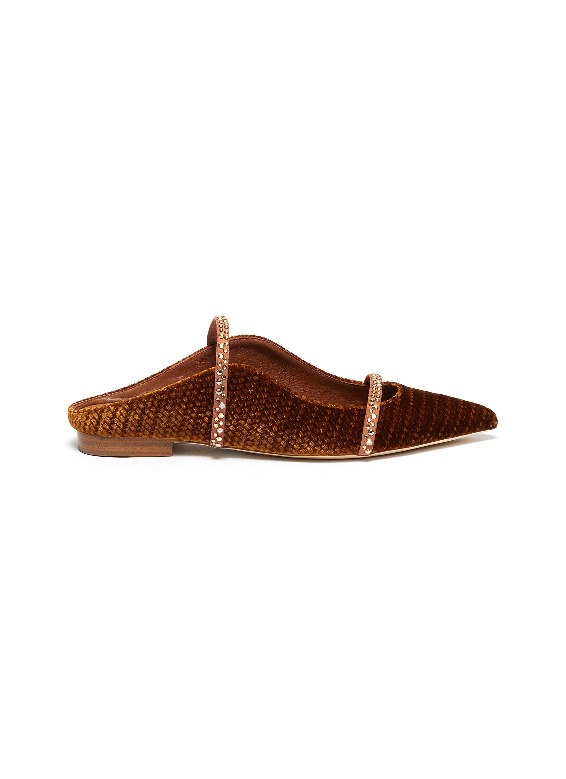 Maureen strass strappy leather flats by Malone Souliers