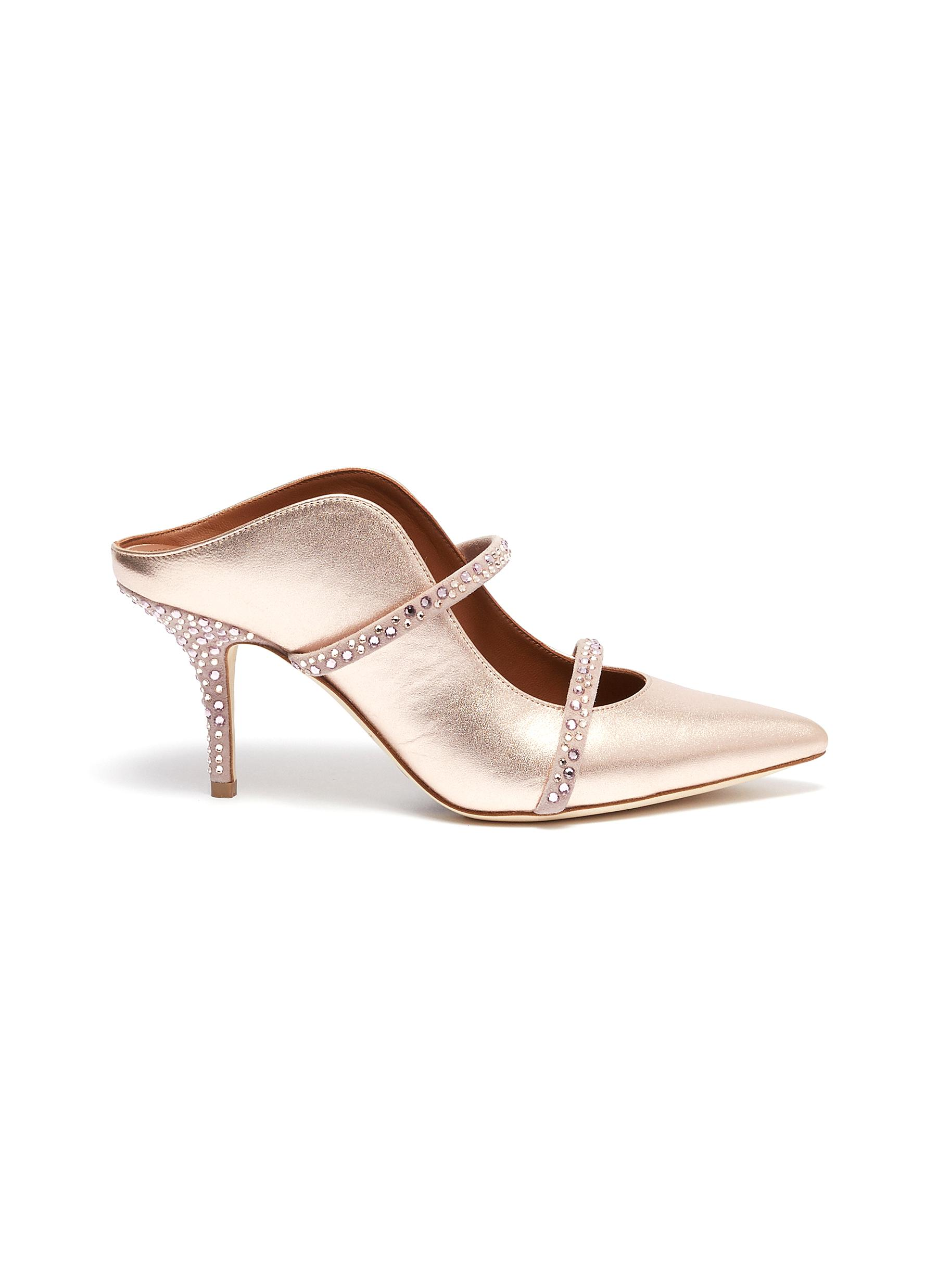 Maureen strass embellished metallic leather strappy mules by Malone Souliers