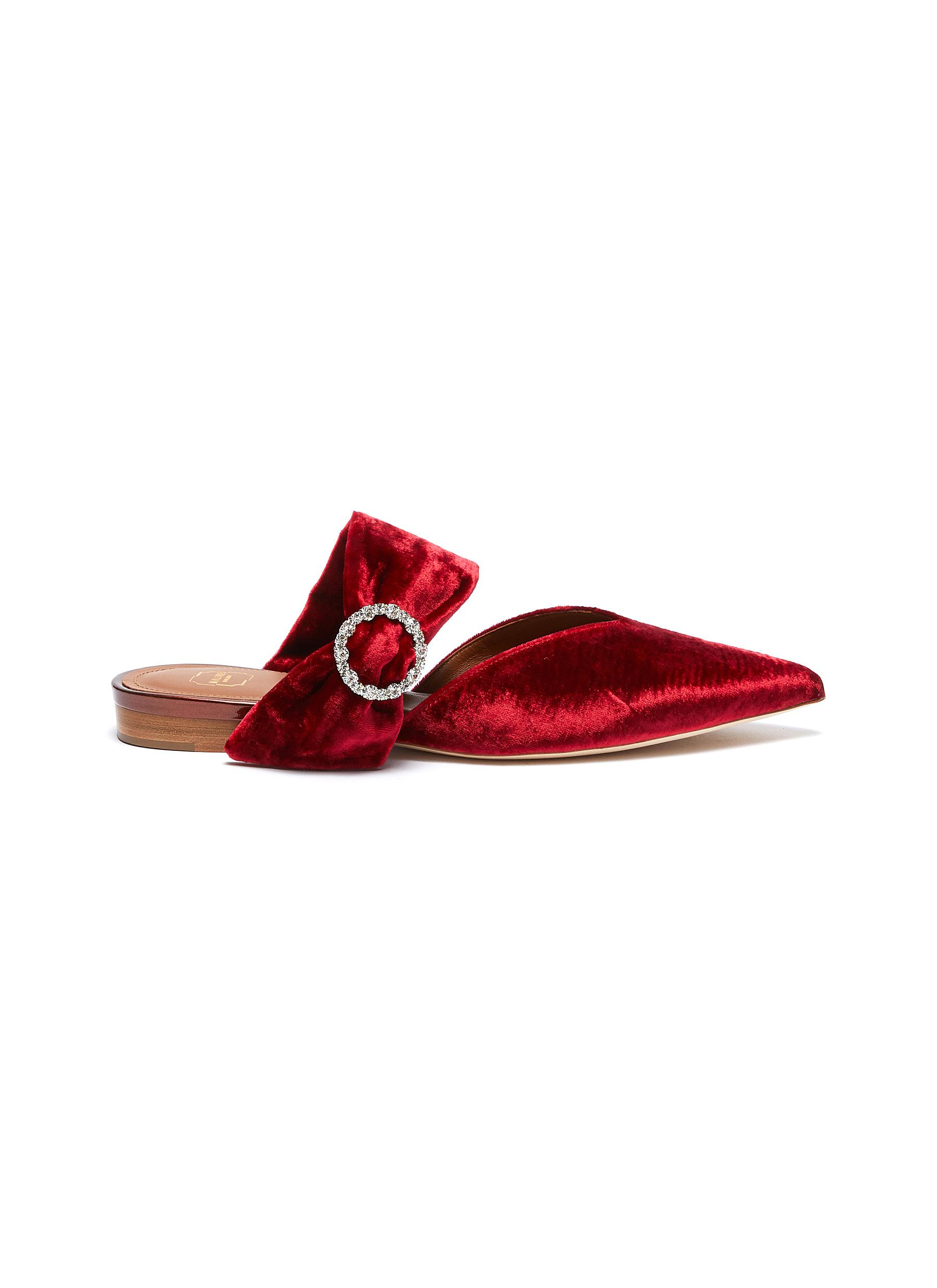 Maite glass crystal buckle velvet slides by Malone Souliers