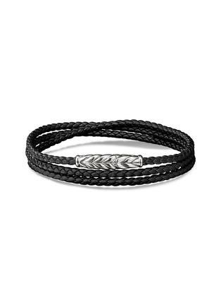 Main View - Click To Enlarge - DAVID YURMAN - 'Chevron' woven leather triple wrap bracelet