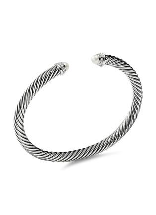 Main View - Click To Enlarge - DAVID YURMAN - Cable Classics' diamond freshwater pearl silver cuff