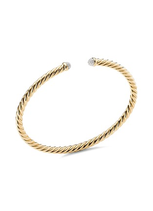 Main View - Click To Enlarge - DAVID YURMAN - Cable Spira' diamond 18k yellow gold cuff