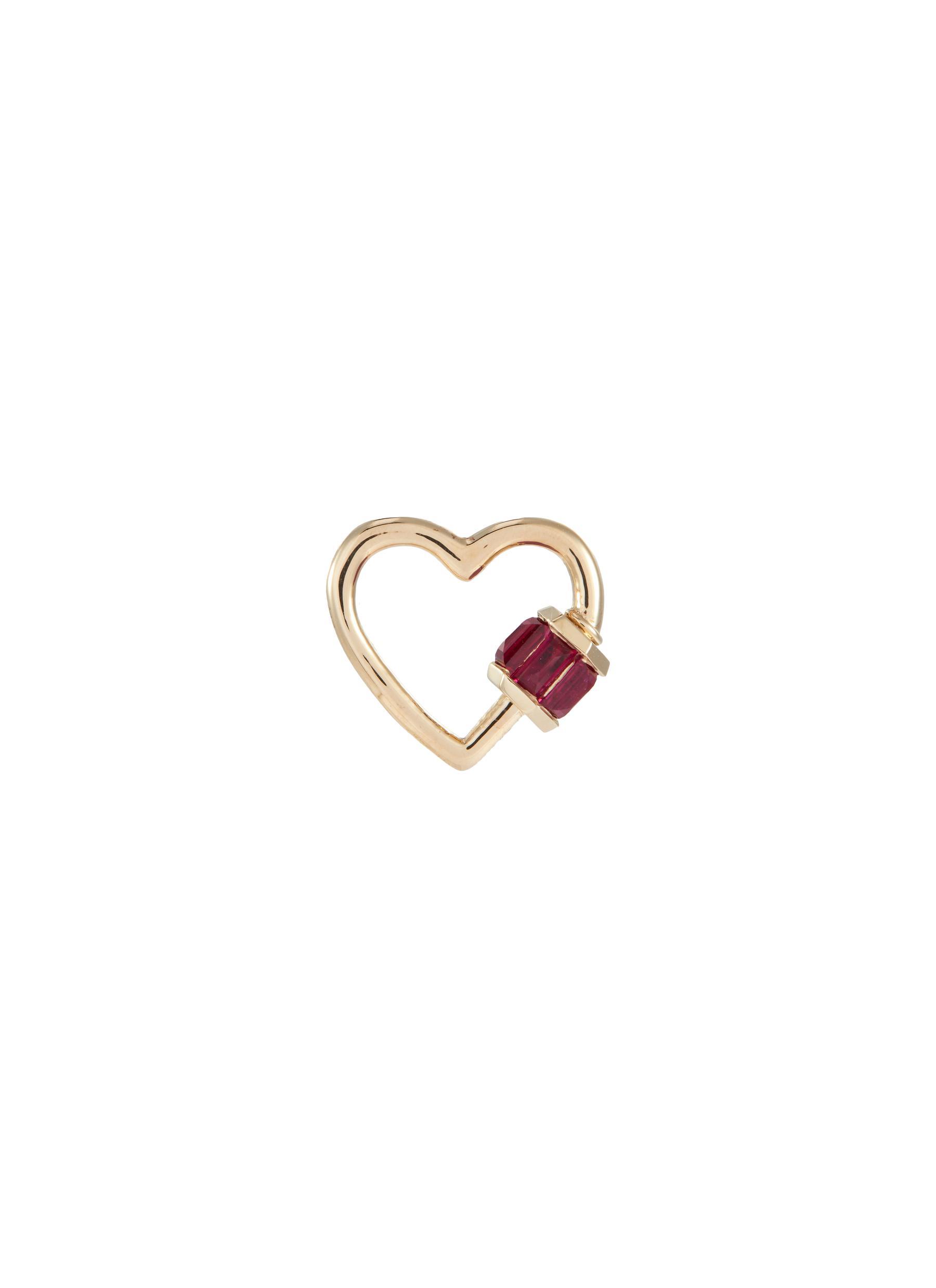 'Heart' ruby 14k yellow gold baby lock