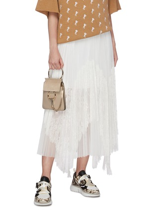 Front View - Click To Enlarge - CHLOÉ - 'Faye' suede flap leather bracelet bag