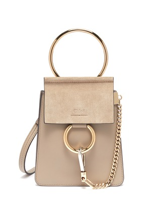 Main View - Click To Enlarge - CHLOÉ - 'Faye' suede flap leather bracelet bag