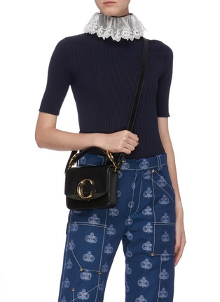 Figure View - Click To Enlarge - CHLOÉ - 'Chloé C' mini leather top handle bag