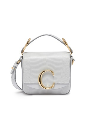 Main View - Click To Enlarge - CHLOÉ - 'Chloé C' mini lizard embossed leather top handle bag