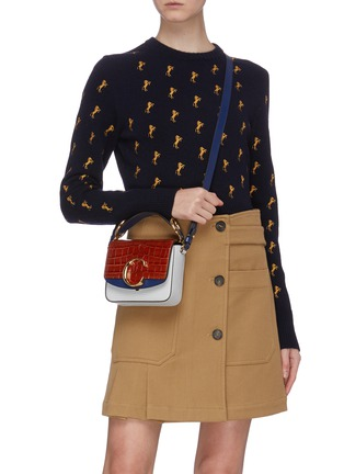 Front View - Click To Enlarge - CHLOÉ - 'Chloé C' colourblock mini croc lizard embossed leather bag