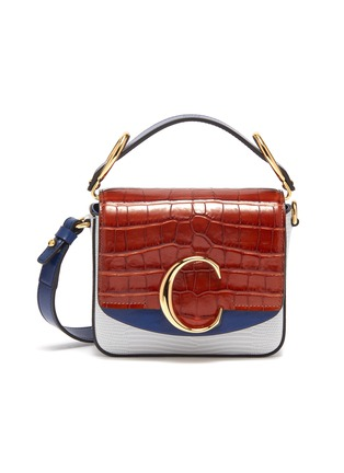Main View - Click To Enlarge - CHLOÉ - 'Chloé C' colourblock mini croc lizard embossed leather bag